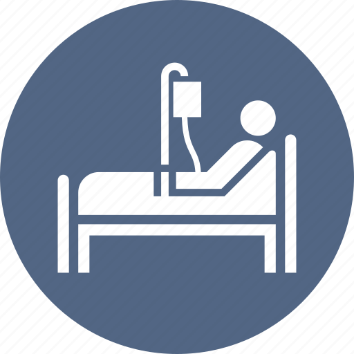 Medical treatment, patient, hospital bed icon