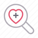 health, heart, life, magnifier, search icon
