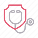 clinic, doctor, protection, shield, stethoscope icon