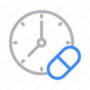 capsule, dose, medicine, time, timetable icon