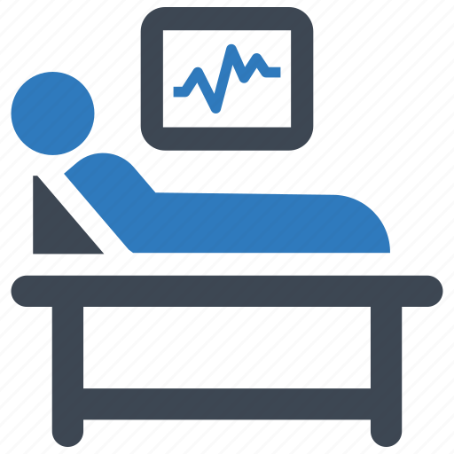 cardiogram, hospital bed, medical treatment, patient icon