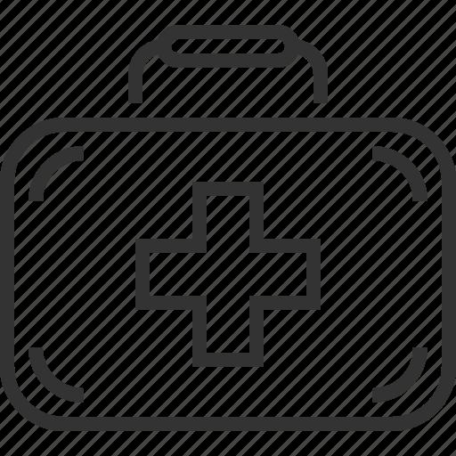 aid, case, cross, first, line, portfolio, suitcase icon