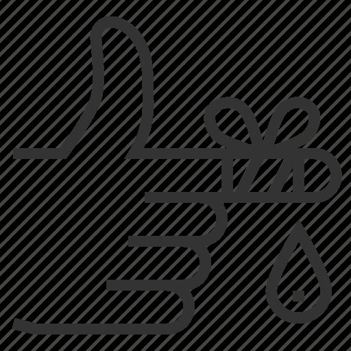 bandage, drop, finger, hand, line, outline icon