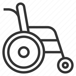 disable, line, outline, wheelchair icon