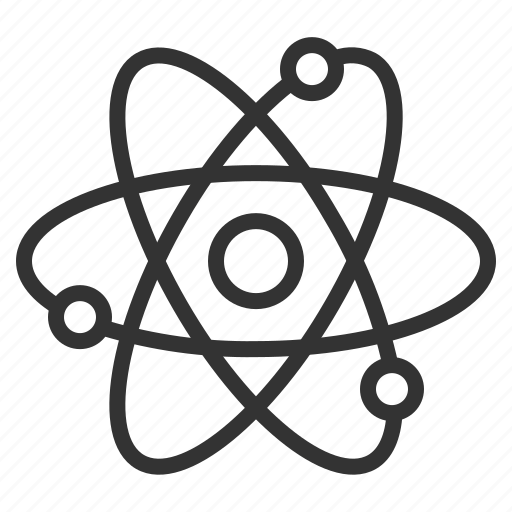 atom, biology, chemistry, line, nucleus, outline, science icon
