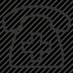 cross, handset, line, medical, outline, phone icon