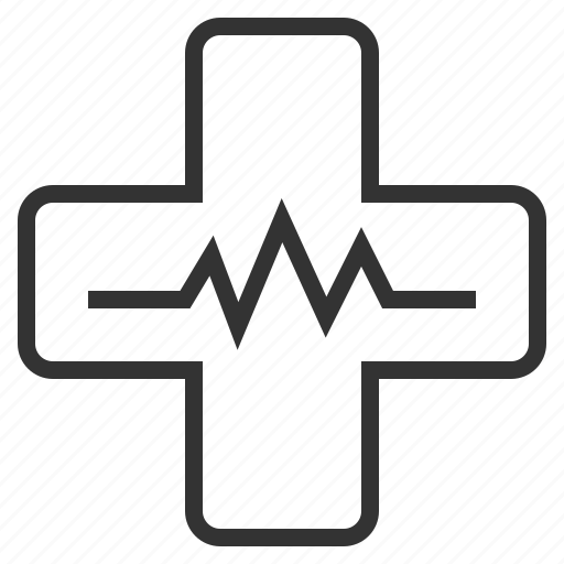 cross, health, line, medical, outline, pulse icon