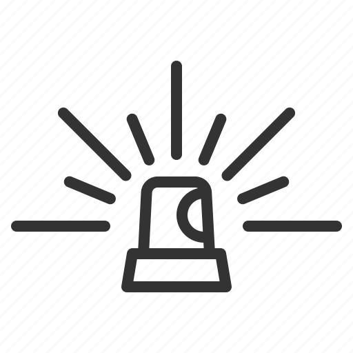 emergency, flash, flasher, line, outline icon