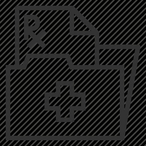 cross, line, medical, outline, paper, prescription icon