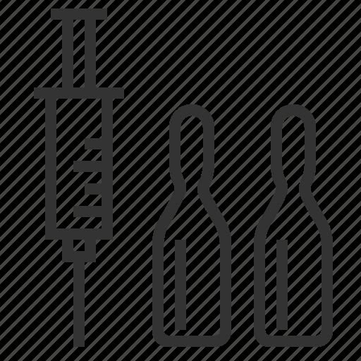 health, line, medical, outline, syringe, tube icon