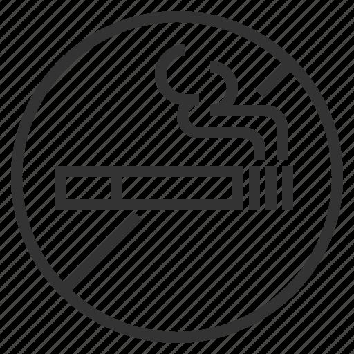 cigarette, line, no, outline, prohibition, smokie, smoking icon