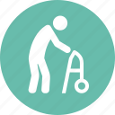 geriatrics, gerontology, old man, walker icon
