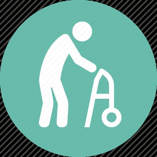 geriatrics, gerontology, old man, walker icon