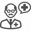 dentist, doctor, pharmacist, speech bubble icon