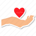 hand, heart, love, medical, valentine icon