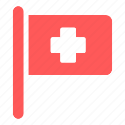 clinic, first aid, flag, hospital, medical icon