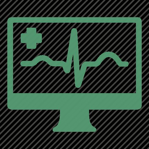 cardiogram, computer, health care, heart, hospital, medical icon