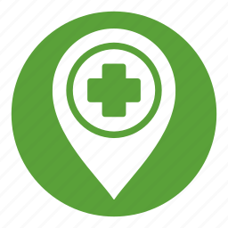 healthcare, hospital, location, map, medical, pointer icon