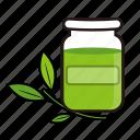 bottle, green, leaf, medicine, pharmacy icon