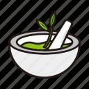 bowl, ic, leaf, medicine, with icon