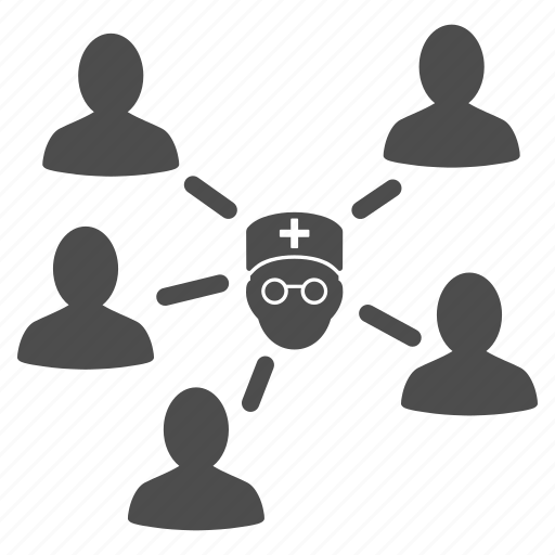 connect, connection, contacts, doctor, patients, relations, social group icon