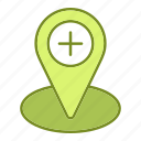 healthcare, location, marker, medicine, placeholder, treatment icon