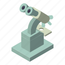 biology, isometric, logo, microscope, object, research, science