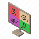 computer, ct, diagnostics, isometric, logo, object, scan