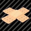 accident, aid, bandage, isometric, logo, object, patch
