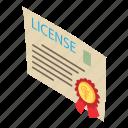 certificate, charter, degree, isometric, license, logo, object