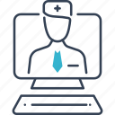 computer, person, assistance, online, medical, doctor icon