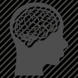 brain, head, memory, mind, person, profile, think icon