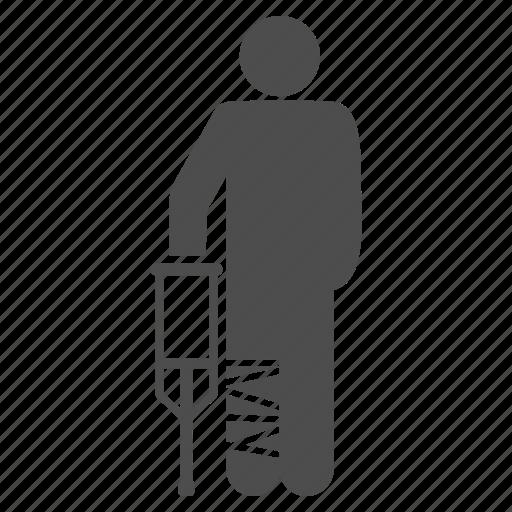 broken leg, client, crutch, customer, damage, patient, safety icon