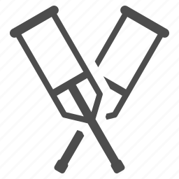 crutches, equipment, problem, safety, supplies, support, tool icon