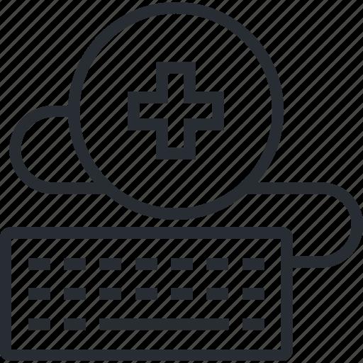 healthcare, internet, medical, medicine, online, support, thin line icon