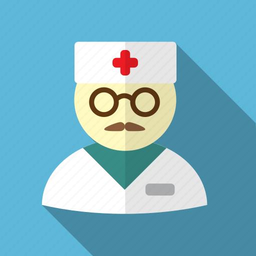 cross, doctor, hat, man, medical, medicine, mustache icon