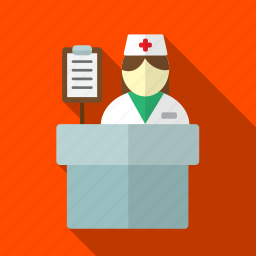 checklist, female, hospital, nurse, reception icon