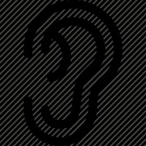 aural, ear, hearing, human, sense, sound icon