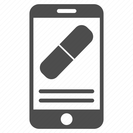 drugs, drugstore, medical, mobile, phone, smartphone, telephone icon
