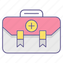 aid, bag, first, kit, medecine icon