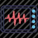 ecg, ecg monitor, health, healthcare, heart, lines, pulse rate icon