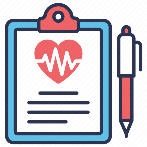 clinical, health, medical, medical record, pen, record, report icon