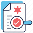 doctor consultation, health, medical, records, report, report icon, search