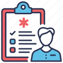 checkup, examination, heart, male, man, physical, report icon