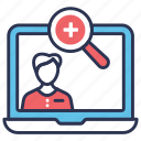 doctor, doctor search, find, find doctor, magnifier, search, stethoscope icon