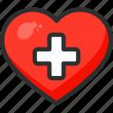 beat, cross, heart, hospital, medical, plus icon