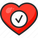 beat, check, heart, hospital, mark, medical, ok icon