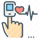 pulse, oximeter, finger, measurement, pulse oximeter, pulse measurement icon
