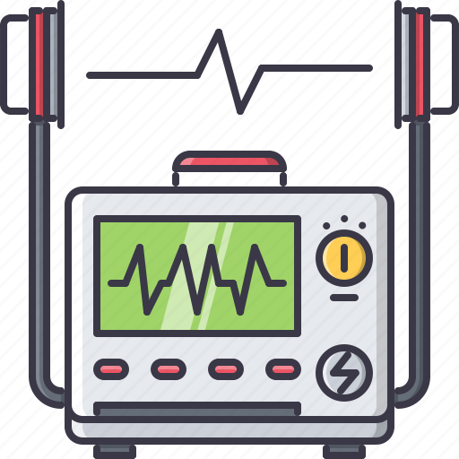 cardiogram, defibrillator, disease, hospital, medicine, pulse, treatment icon