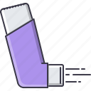 asthma, disease, hospital, medicament, medicine, spray, treatment icon